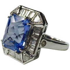 Blue Sapphire Cushion Cut and Diamond Engagement Ring in 18 Karat White Gold