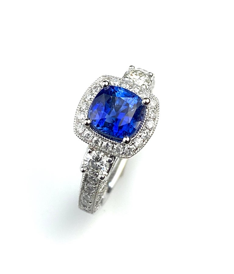 Blue Sapphire Cushion Cut Antique Style Ring with White Diamond Details In New Condition For Sale In Toronto, Ontario
