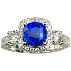 Blue Sapphire Cushion Cut Antique Style Ring with White Diamond Details