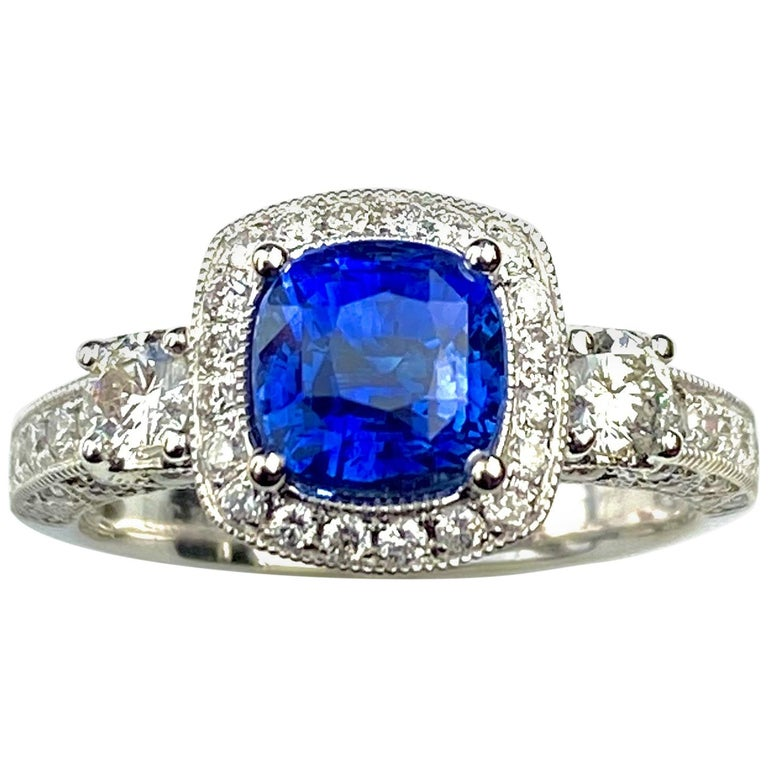 Blue Sapphire Cushion Cut Antique Style Ring with White Diamond Details For Sale