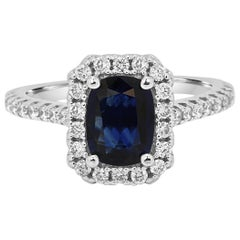 Blue Sapphire Cushion Diamond Round Halo Gold Bridal Cocktail Ring