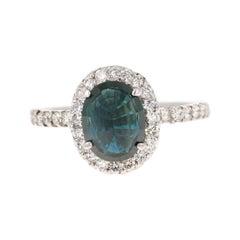 Blue Sapphire Diamond 14 Karat White Gold Ring