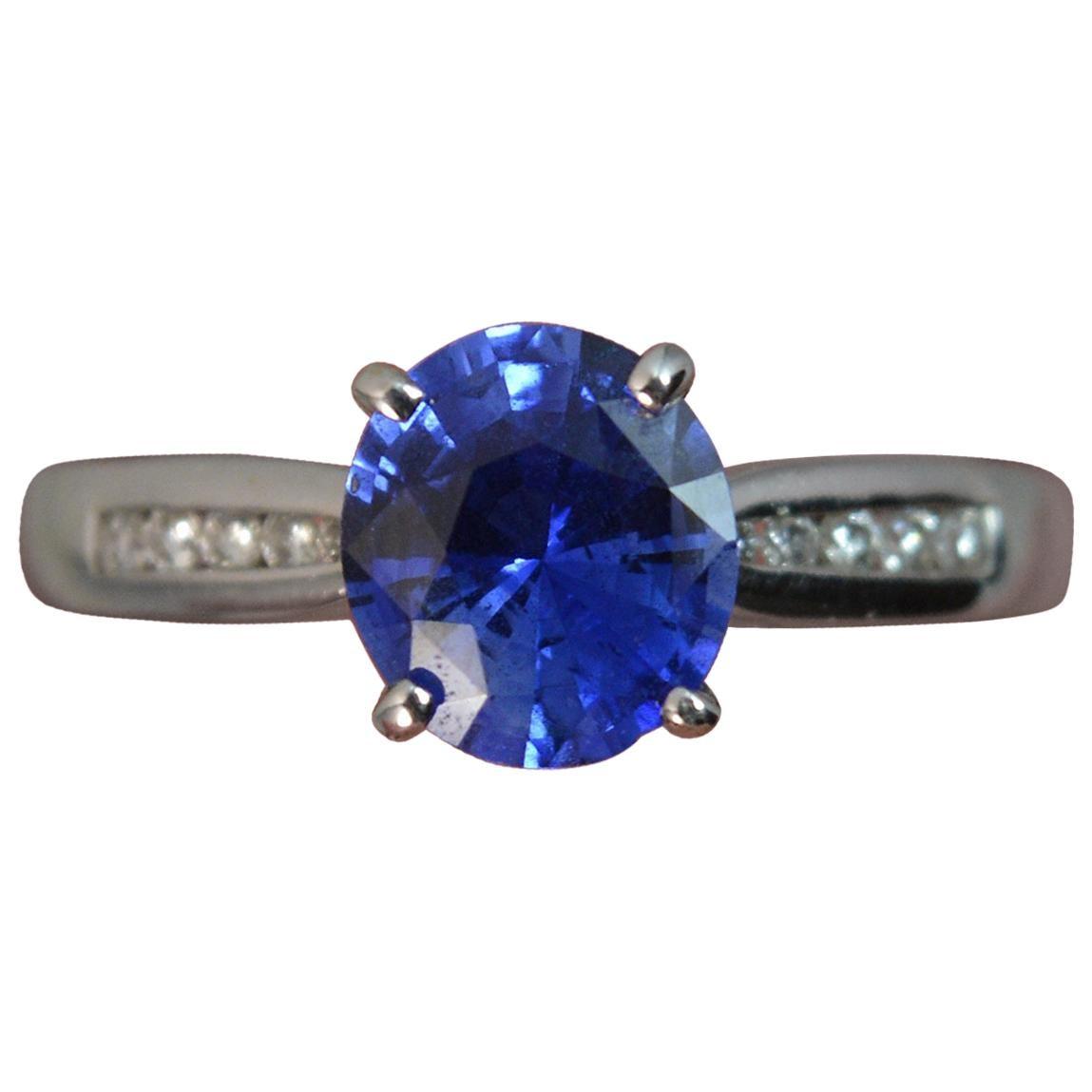 Blue Sapphire Diamond 18 Carat White Gold Engagement Ring