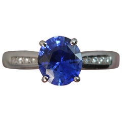 Blue Sapphire Diamond 18 Carat White Gold Engagement Ring
