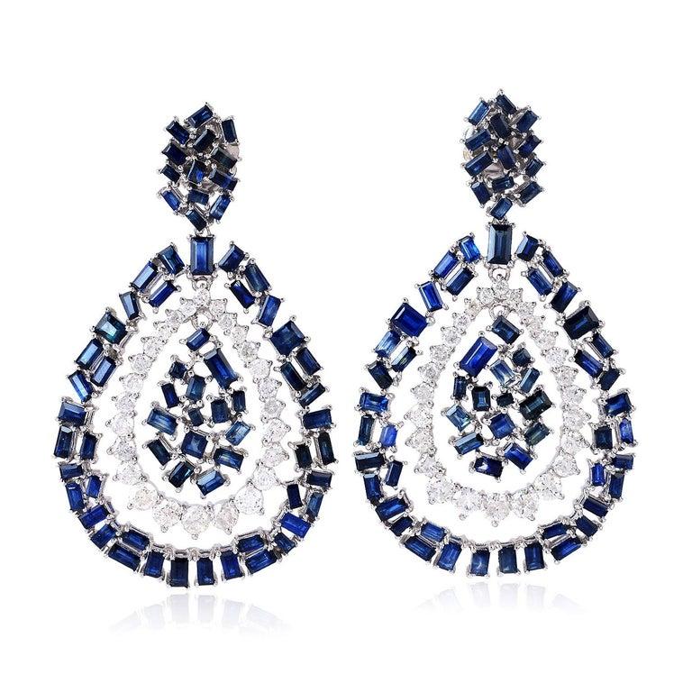 Baguette Cut Blue Sapphire Diamond 18 Karat Gold Earrings For Sale