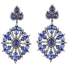 Blue Sapphire Diamond 18 Karat Gold Earrings
