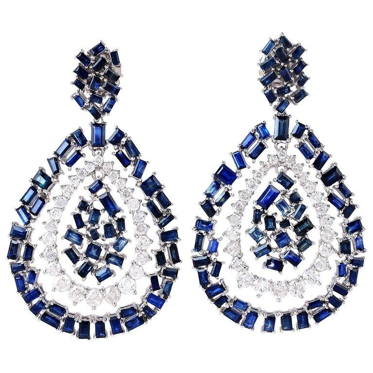 Blue Sapphire Diamond 18 Karat Gold Earrings For Sale