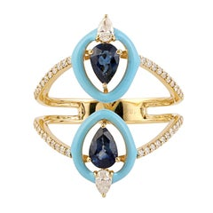 Blue Sapphire Diamond 18 Karat Gold Enamel Ring