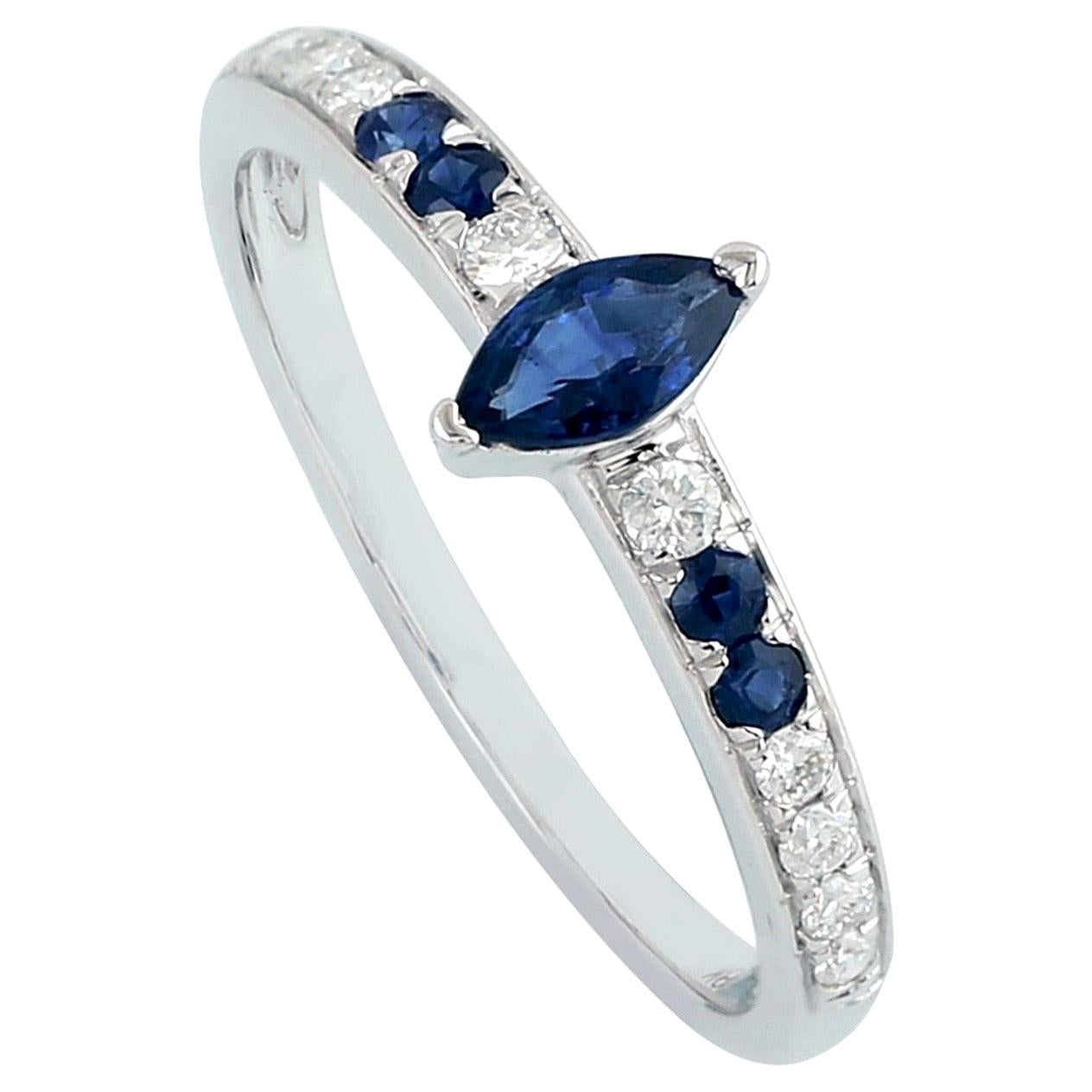 Blue Sapphire Diamond 18 Karat Gold Eternity Ring