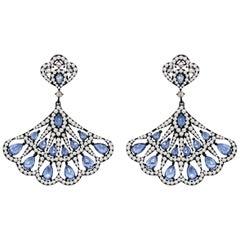 Blue Sapphire Diamond 18 Karat Gold Fan Earrings
