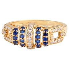 Blue Sapphire Diamond 18 Karat Gold Ring
