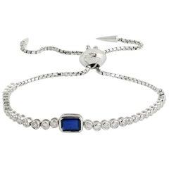 Blue Sapphire Diamond 18 Karat Gold Tennis Bracelet