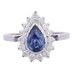 Blue Sapphire Diamond 18 Karat Gold Solitaire Ring