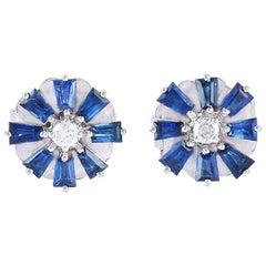 Blue Sapphire Diamond 18 Karat Gold Stud Earrings