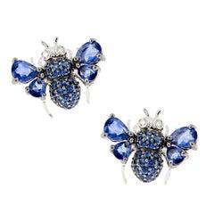 Blue Sapphire Diamond 18 Karat White Gold Bee Earrings