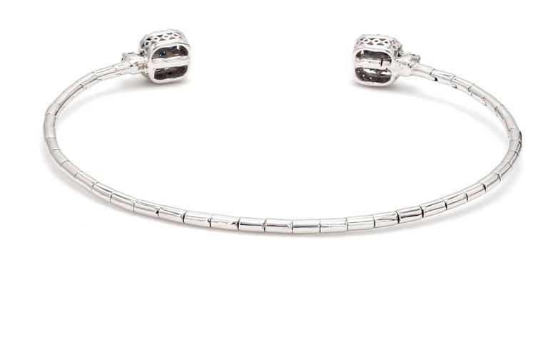 Contemporary Blue Sapphire Diamond 18 Karat White Gold Cuff Bracelet For Sale