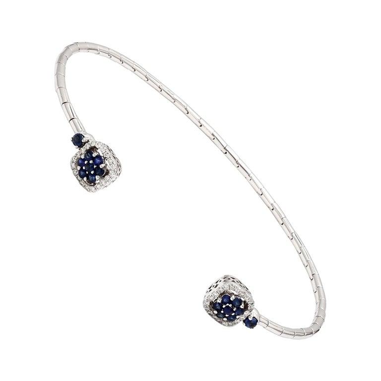Blue Sapphire Diamond 18 Karat White Gold Cuff Bracelet For Sale