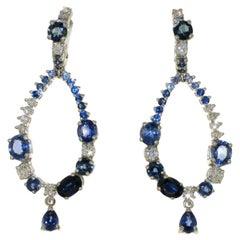 Blue Sapphire Diamond 18 Karat White Gold Dangle Earrings