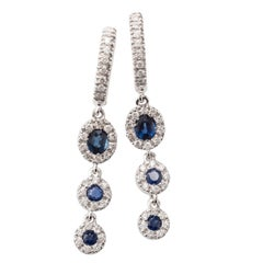 Blue Sapphire Diamond 18 Karat White Gold Dangle Earrings