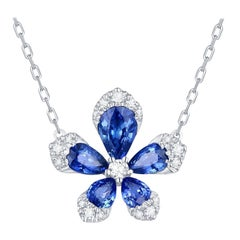 Blue Sapphire Diamond 18 Karat White Gold Flower Pendant Necklace