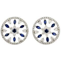 Blue Sapphire Diamond 18 Karat White Gold Flower Stud Earrings