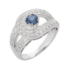 Blue Sapphire Diamond 18 Karat White Gold Ring