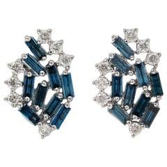 Blue Sapphire Diamond 18 Karat White Gold Stud Earrings