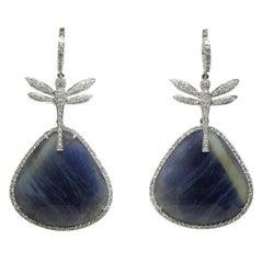 Blue Sapphire, Diamond and 18 Karat Gold Dragonfly Drop Earrings