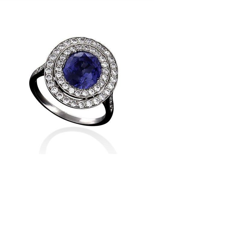 Women's Blue Sapphire Diamond and Platinum Cluster Ring For Sale