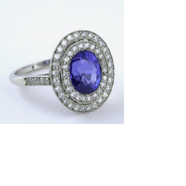 Blue Sapphire Diamond and Platinum Cluster Ring For Sale 5