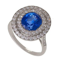 Blue Sapphire Diamond and Platinum Cluster Ring