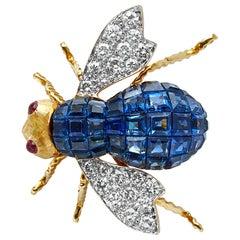 Blue Sapphire, Diamond and Ruby 18 Karat Yellow Gold Bee Pin