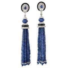 Blue Sapphire Diamond Art Deco Style Tassel Earrings
