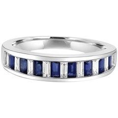 Blue Sapphire Diamond Baguette 18 Karat White Gold Fashion Cocktail Band Ring