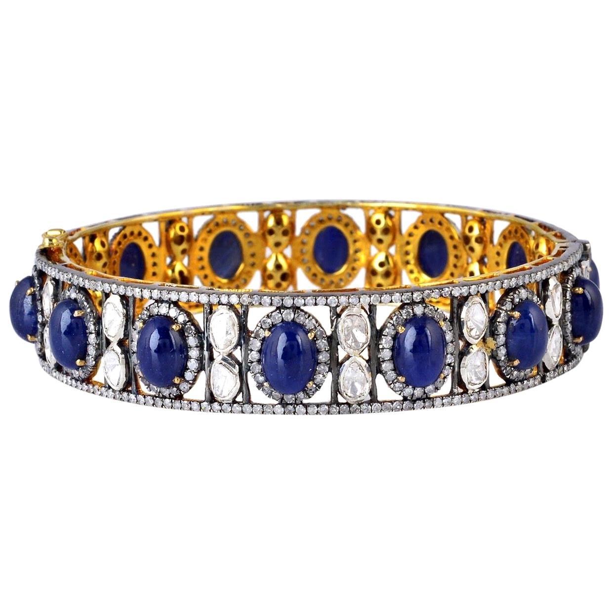 Blue Sapphire Diamond Bangle Bracelet