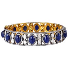 Blue Sapphire Diamond Bangle Bracelet