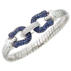 Blue Sapphire & Diamond Bangle in 18 Karat White Gold