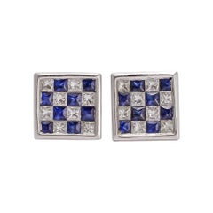 Blue Sapphire Diamond Chequerboard Stud Earrings