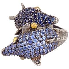 Blue Sapphire Diamond Crossover Double Dolphin Head Ring