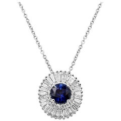 Blue Sapphire Diamond Double Halo Gold Ballerina Pendant Chain Necklace