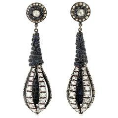 Blue Sapphire Diamond Drop Earrings