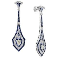 Blue Sapphire Diamond Earrings White Gold