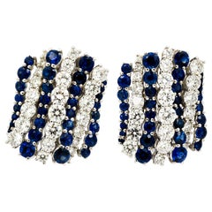 Blue Sapphire Diamond Earrings by Leo Pizzo
