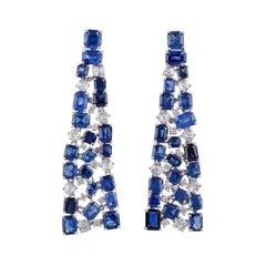 Blue Sapphire & Diamond Earrings Studded in 18k Gold
