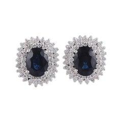 Blue Sapphire & Diamond Earrings Studded in 18k White Gold