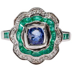 0.77ct Blue Sapphire Diamond 1 ct Emerald 18 Karat White Gold Cocktail Dome Ring