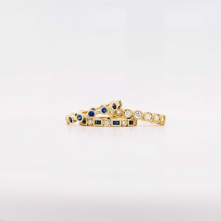Modern Blue Sapphire and Diamond Fashion Band Bezel Stackable Band 14 Karat Yellow Gold For Sale