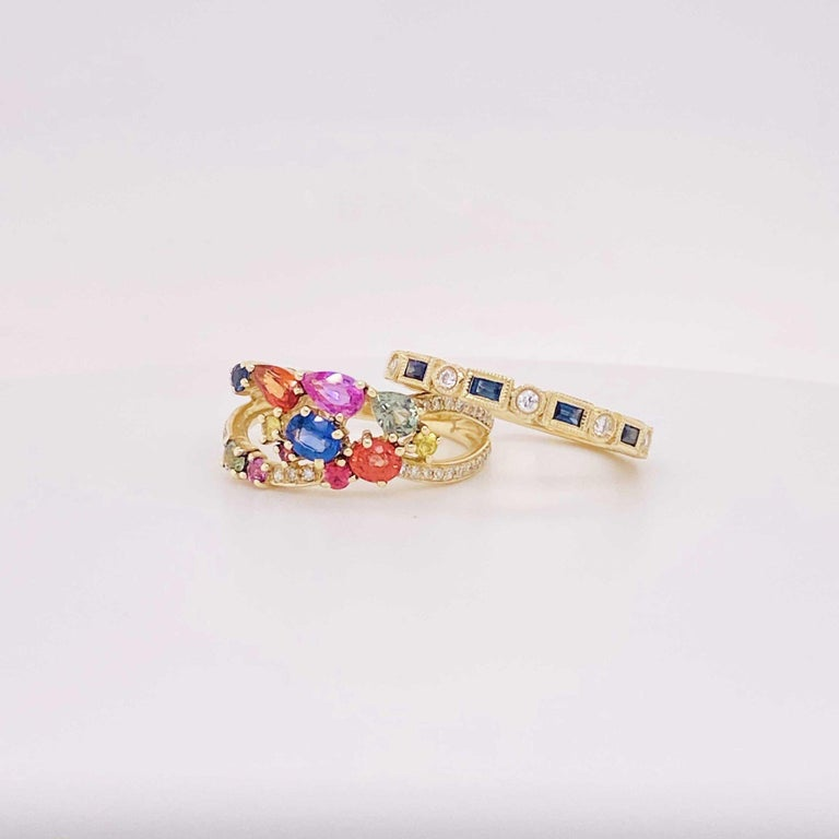 Baguette Cut Blue Sapphire and Diamond Fashion Band Bezel Stackable Band 14 Karat Yellow Gold For Sale