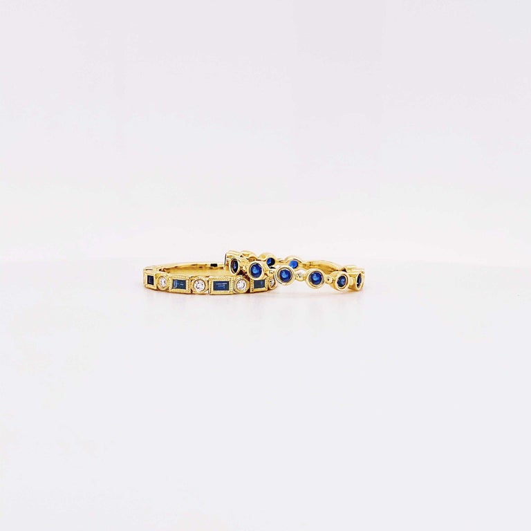 Blue Sapphire and Diamond Fashion Band Bezel Stackable Band 14 Karat Yellow Gold In New Condition For Sale In Austin, TX