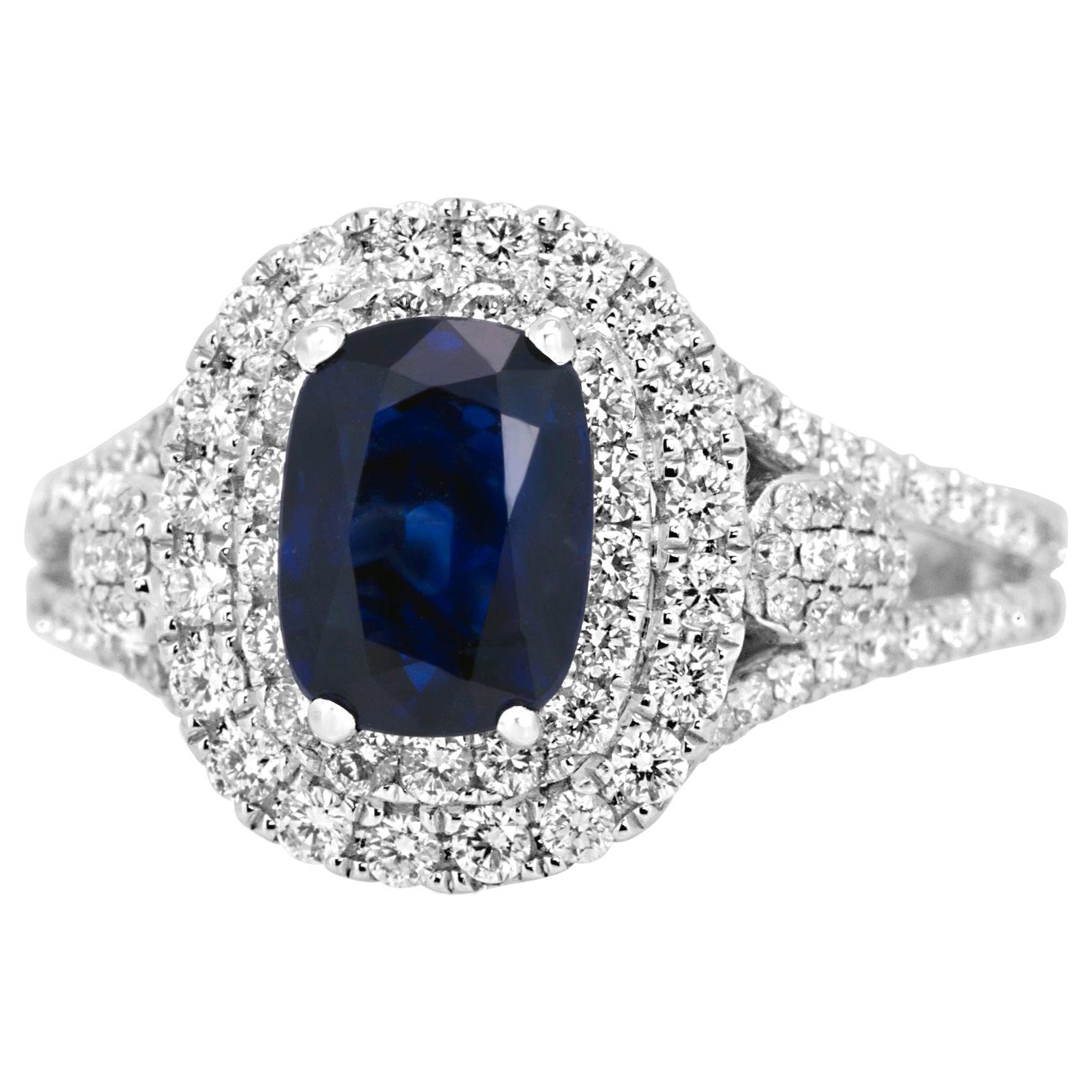 Blue Sapphire Diamond Fashion Double Halo Bridal Fashion Ring